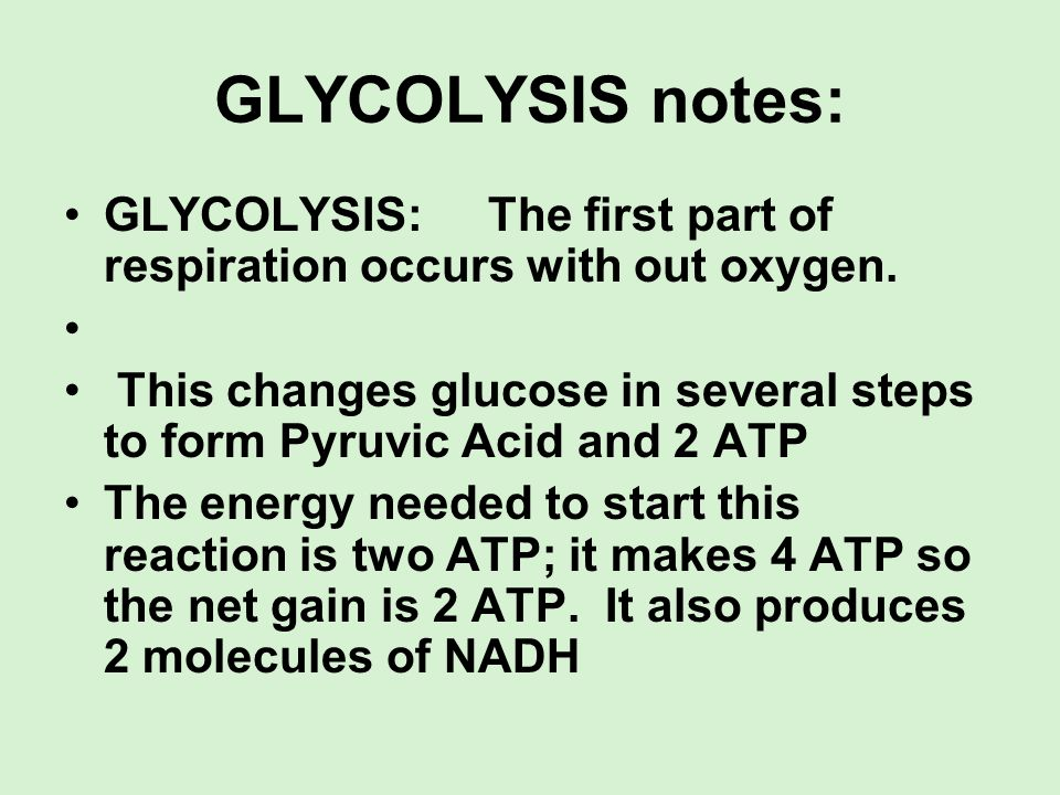 GLYCOLYSIS notes: GLYCOLYSIS: The first part of respiration occurs with out oxygen. This changes glucose in several steps to form Pyruvic Acid and 2 A