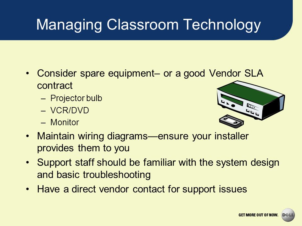 Managing Classroom Technology Consider spare equipment– or a good Vendor SLA contract –Projector bulb –VCR/DVD –Monitor Maintain wiring diagramsensure