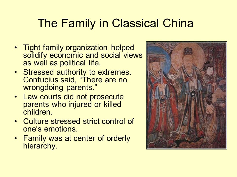 The Family in Classical China Tight family organization helped solidify economic and social views as well as political life. Stressed authority to ext