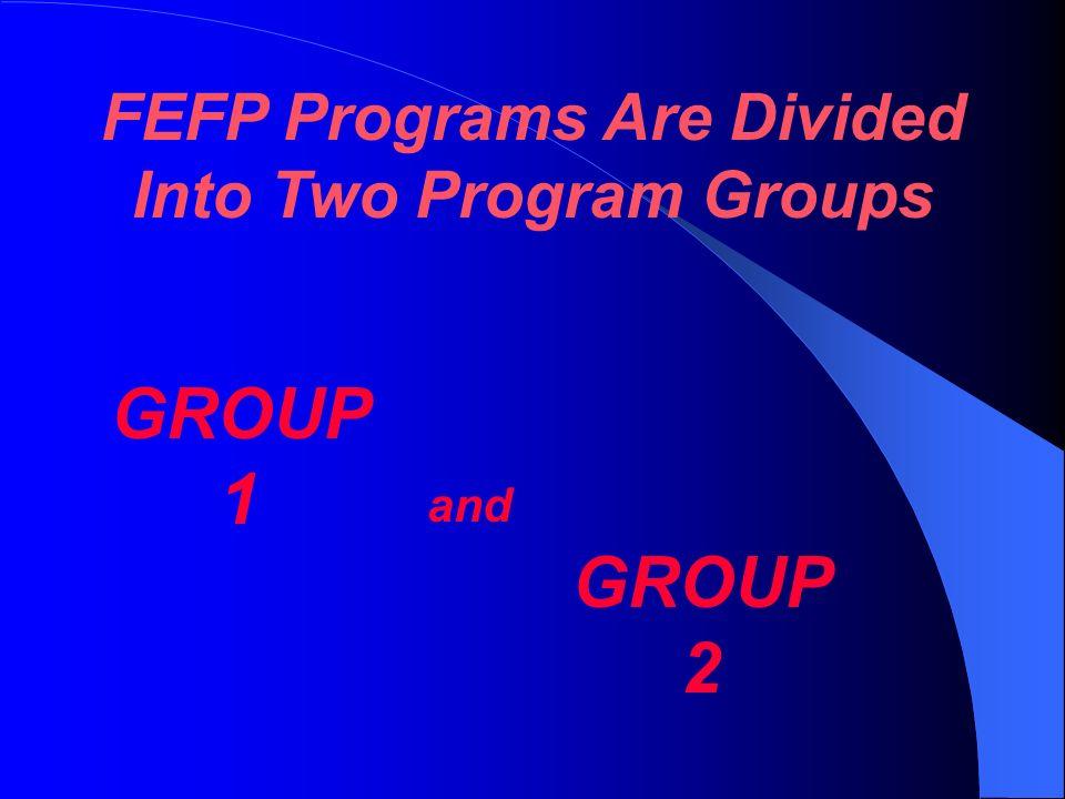 10 FEFP Programs 10 FEFP Programs Basic Education 101 K-3 102 4-8 103 9-12 ESE Basic 111 K-3 112 4-8 113 9-12 130 ESOL/ELL300 Career Education 254 & 2