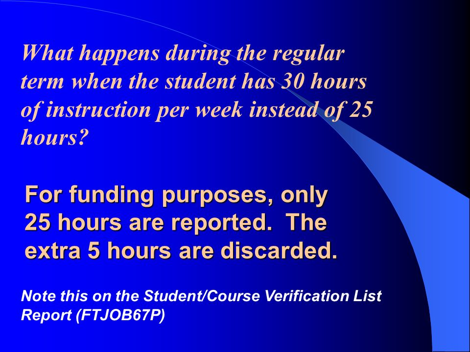 FTE Calculations A student for FTE funding purposes, are in fundable classes for: 5 hours a day 300 minutes a day (5 hours * 60 minutes) 1500 minutes