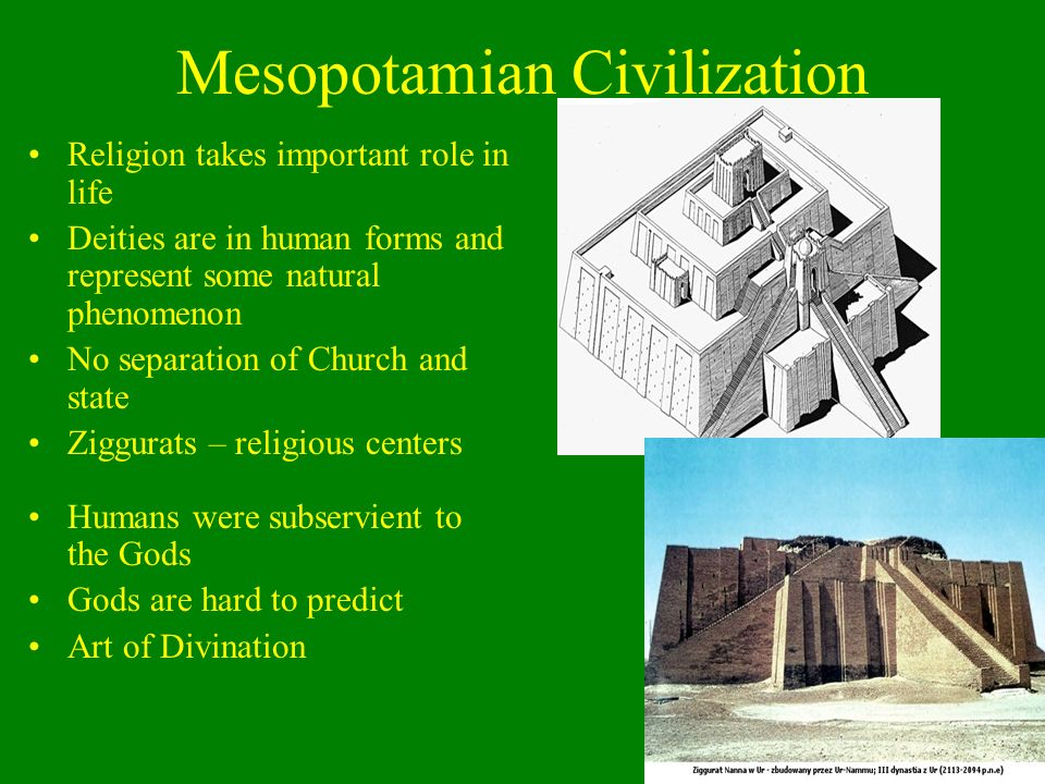 Mesopotamian Civilization 2800 – 2370 BCE – Sumerian kingdom building –Dominant force in Mesopotamia –Created cuneiform –Started as pictograms –Used t
