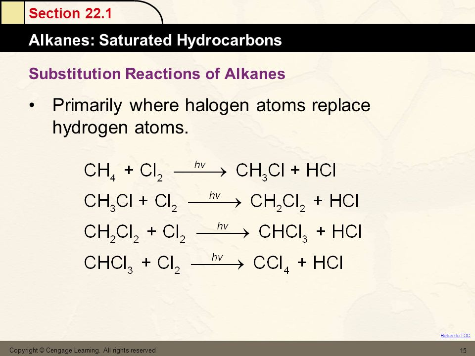 Section 22.1 Alkanes: Saturated Hydrocarbons Return to TOC Copyright © Cengage Learning. All rights reserved 15 Substitution Reactions of Alkanes Prim