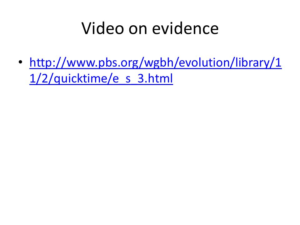 Video on evidence http://www.pbs.org/wgbh/evolution/library/1 1/2/quicktime/e_s_3.html http://www.pbs.org/wgbh/evolution/library/1 1/2/quicktime/e_s_3