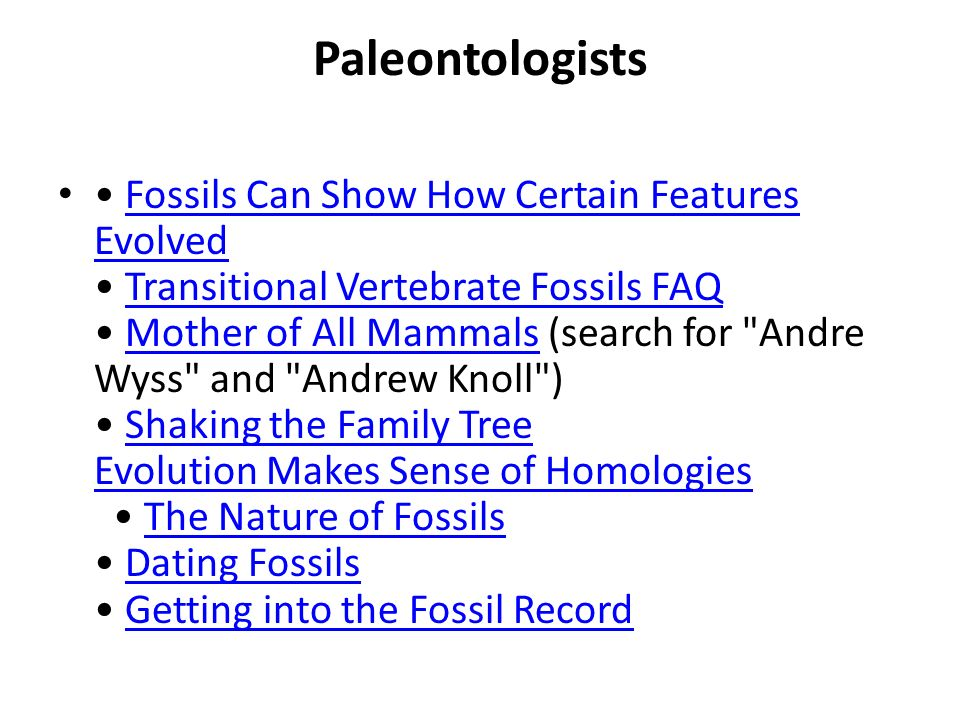 Paleontologists Fossils Can Show How Certain Features Evolved Transitional Vertebrate Fossils FAQ Mother of All Mammals (search for
