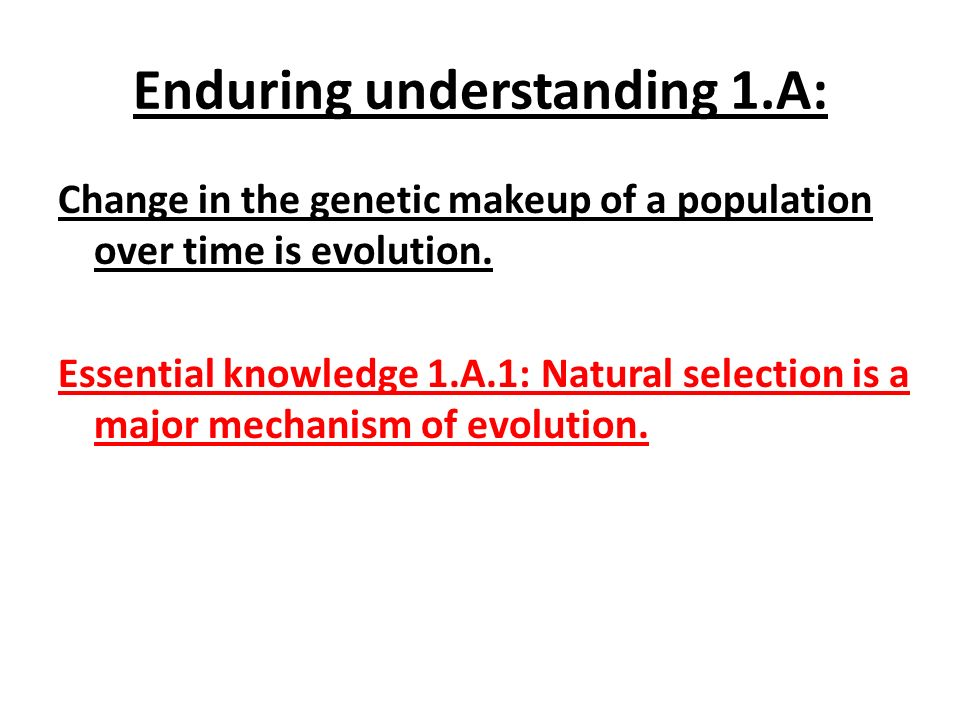Essential knowledge 1.A.2: Natural selection acts on phenotypic variations in populations.