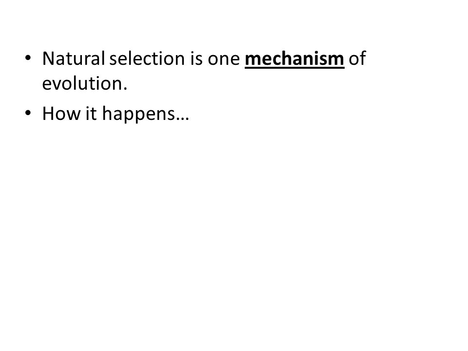 Natural selection is one mechanism of evolution. How it happens…