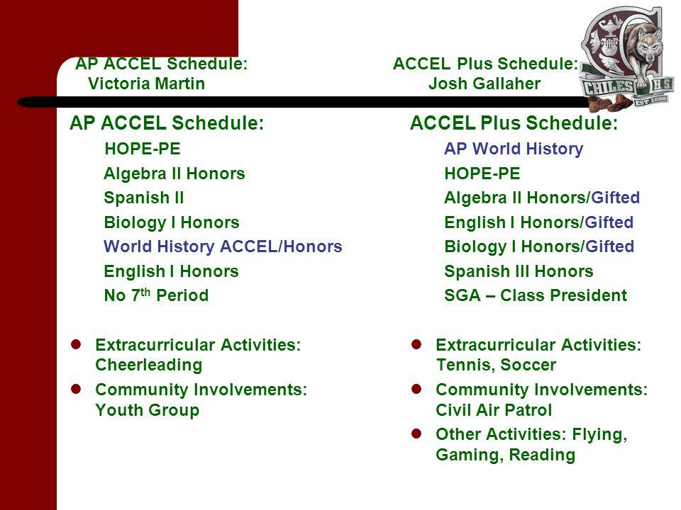 AP ACCEL Schedule: ACCEL Plus Schedule: Victoria Martin Josh Gallaher AP ACCEL Schedule: HOPE-PE Algebra II Honors Spanish II Biology I Honors World H