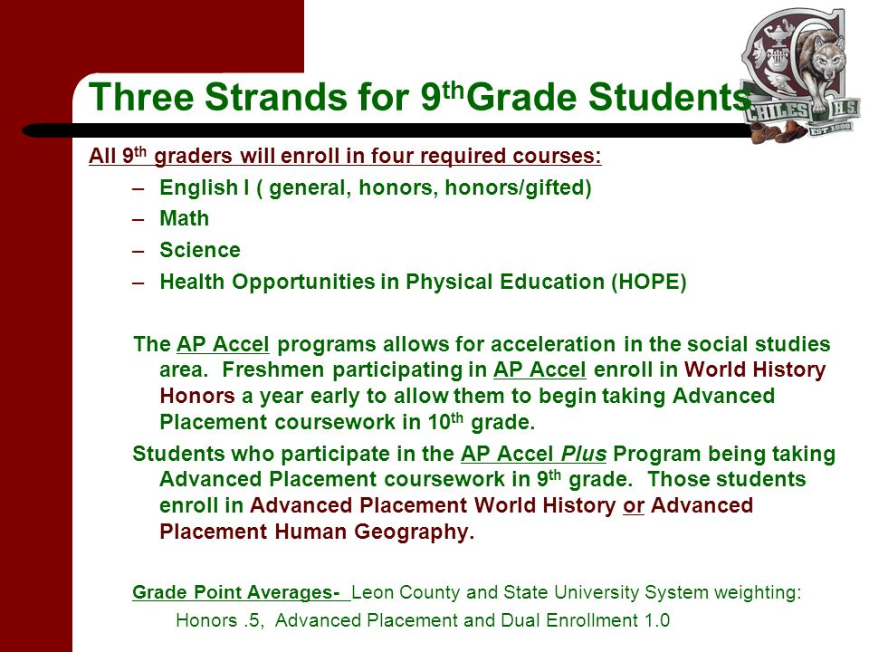 Three Strands for 9 th Grade Students All 9 th graders will enroll in four required courses: –English I ( general, honors, honors/gifted) –Math –Scien