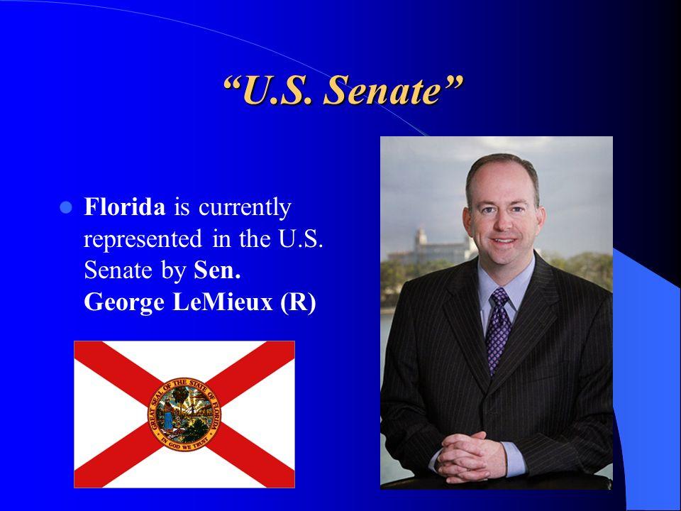 U.S. Senate Florida is currently represented in the U.S. Senate by Sen. George LeMieux (R)
