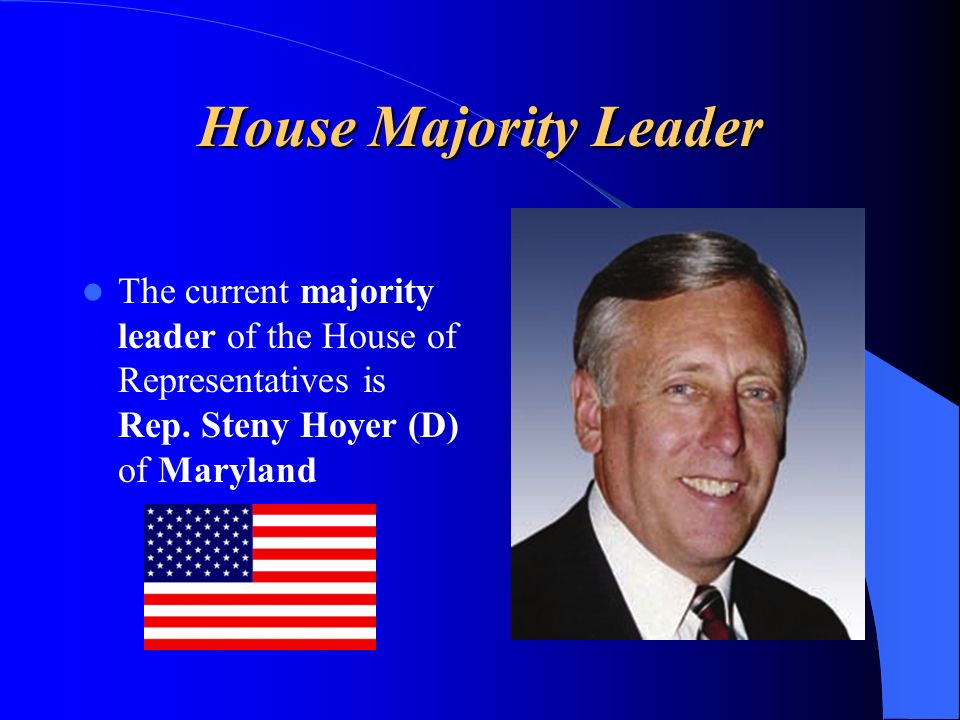 House Majority Leader The current majority leader of the House of Representatives is Rep. Steny Hoyer (D) of Maryland