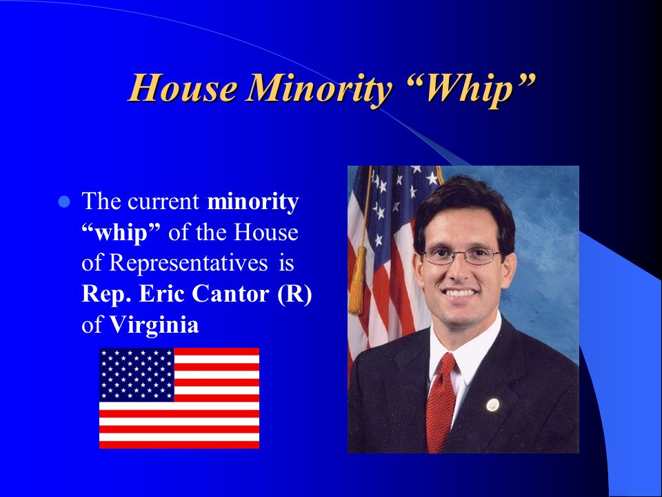 House Minority Whip The current minority whip of the House of Representatives is Rep. Eric Cantor (R) of Virginia
