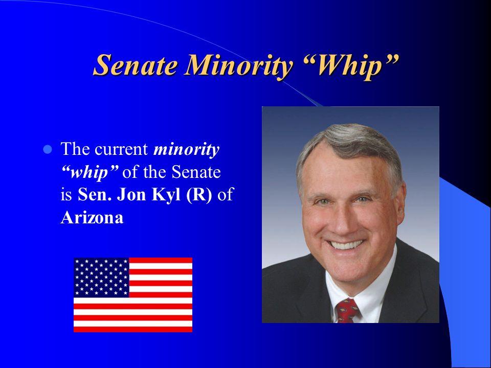 Senate Minority Whip The current minority whip of the Senate is Sen. Jon Kyl (R) of Arizona