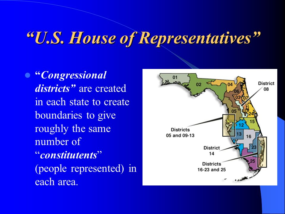 U.S. House of Representatives Congressional districts are created in each state to create boundaries to give roughly the same number ofconstitutents (