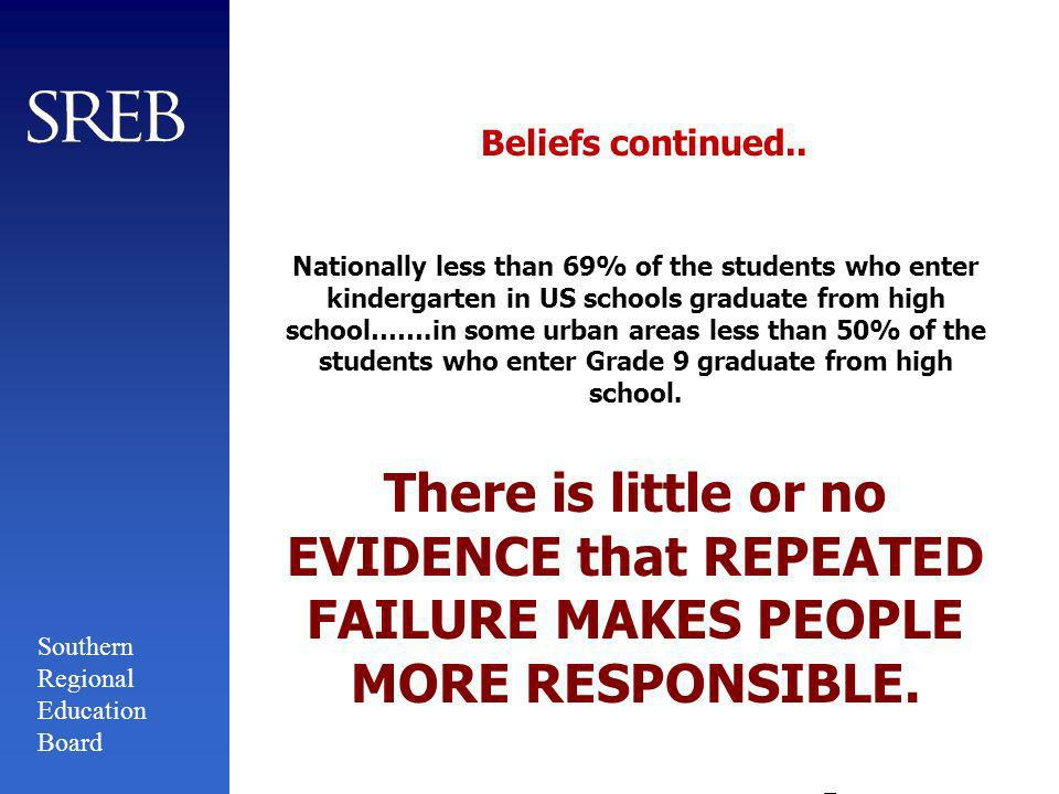 Southern Regional Education Board Beliefs Relative to School Grading Policies Research by Dr.