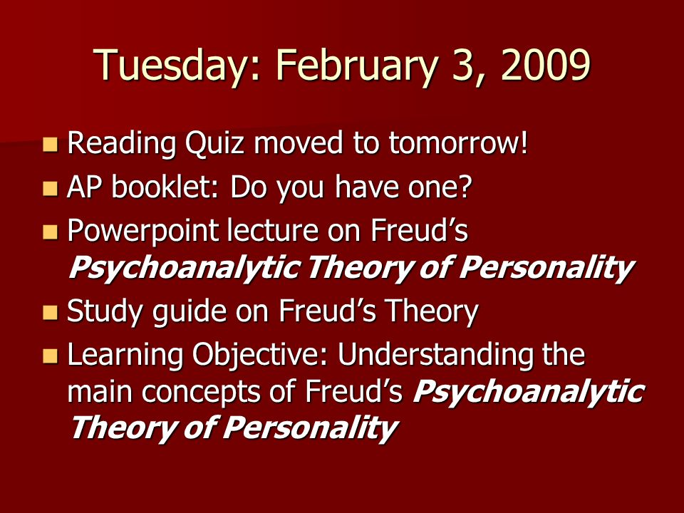 Tuesday: February 3, 2009 Reading Quiz moved to tomorrow! Reading Quiz moved to tomorrow! AP booklet: Do you have one? AP booklet: Do you have one? Po