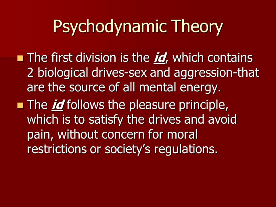 Psychodynamic Theory The second division is the ego, whose goal is to find socially acceptable ways of satisfying the ids desires within the range of the superegos prohibitions.