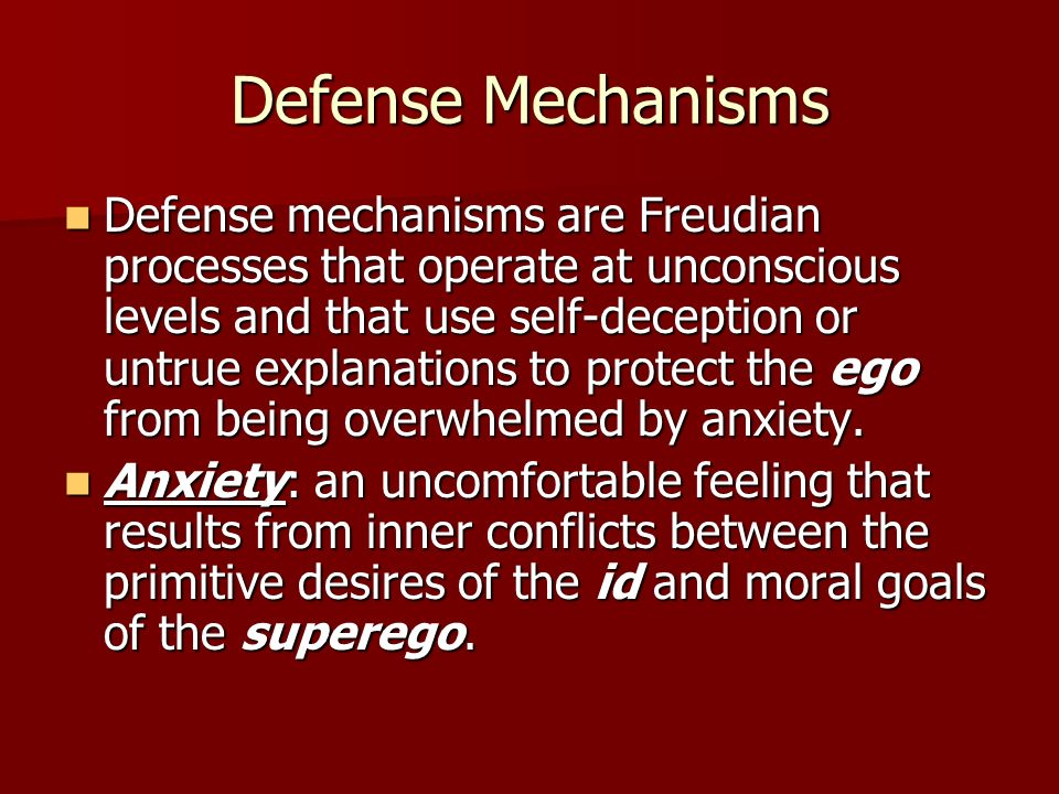 Defense Mechanisms Rationalization: involves covering up the true reasons for actions, thoughts, or feelings by making up excuses and incorrect explanations.