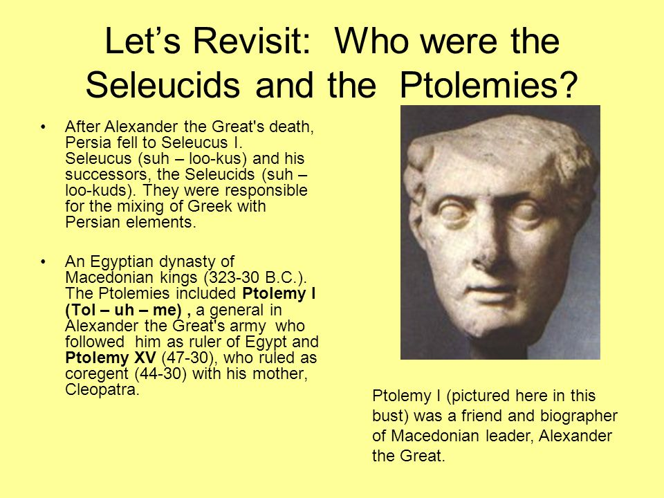 Lets Revisit: Who were the Seleucids and the Ptolemies? After Alexander the Great's death, Persia fell to Seleucus I. Seleucus (suh – loo-kus) and his