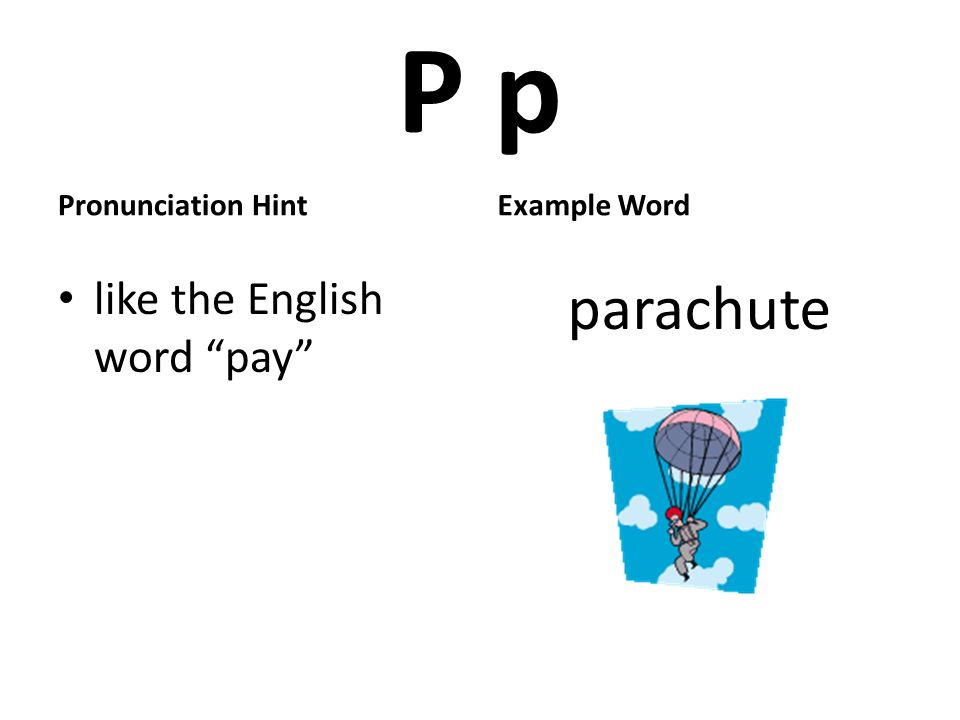 P p Pronunciation Hint like the English word pay Example Word parachute