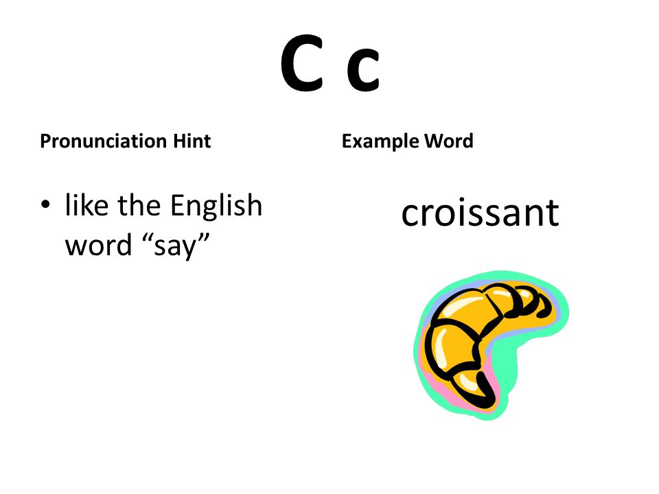 C c Pronunciation Hint like the English word say Example Word croissant