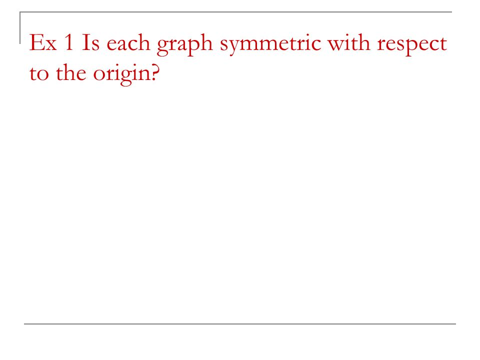 Ex 1 Is each graph symmetric with respect to the origin?