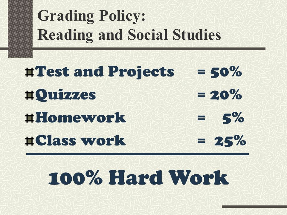 Grading Policy: Reading and Social Studies Test and Projects = 50% Quizzes = 20% Homework = 5% Class work = 25% 100% Hard Work