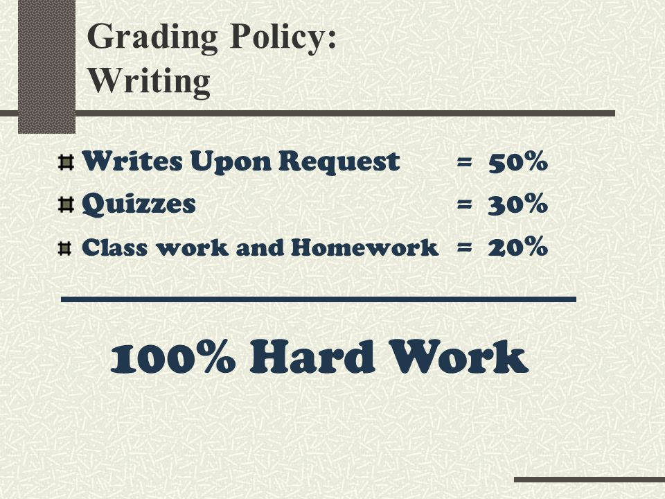 Grading Policy: Writing Writes Upon Request = 50% Quizzes = 30% Class work and Homework = 20% 100% Hard Work