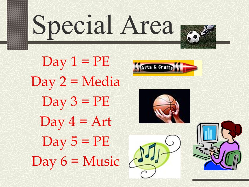 Special Area Day 1 = PE Day 2 = Media Day 3 = PE Day 4 = Art Day 5 = PE Day 6 = Music