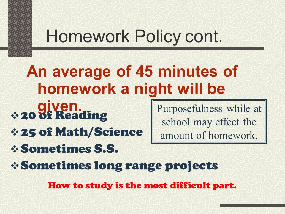 An average of 45 minutes of homework a night will be given.