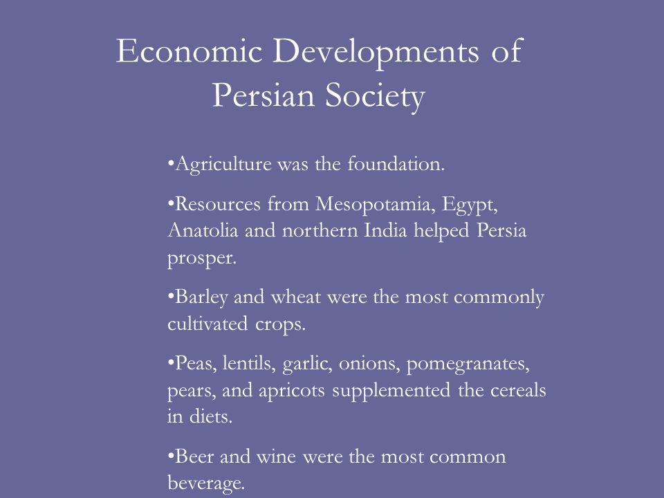 Economic Developments of Persian Society Agriculture was the foundation.