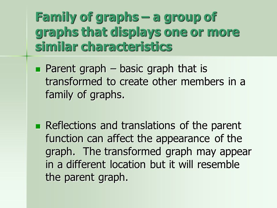 Family of graphs – a group of graphs that displays one or more similar characteristics Parent graph – basic graph that is transformed to create other