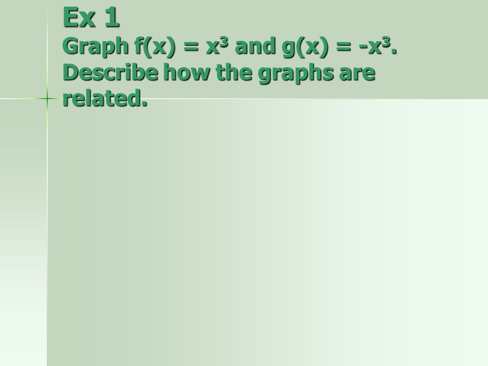 Ex 1 Graph f(x) = x 3 and g(x) = -x 3. Describe how the graphs are related.