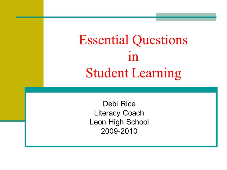 Essential Questions in Student Learning Debi Rice Literacy Coach Leon High School 2009-2010