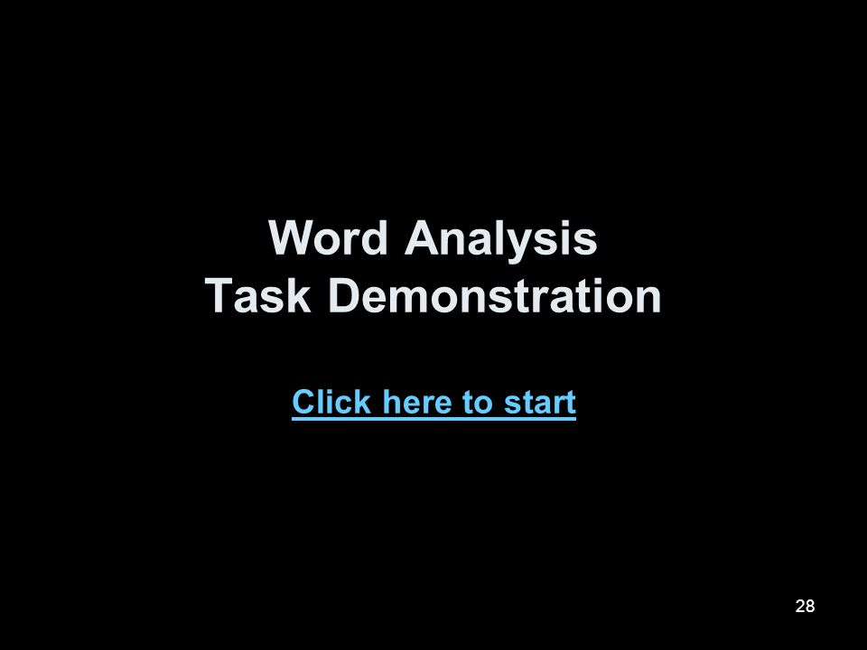 28 Word Analysis Task Demonstration Click here to start Click here to start