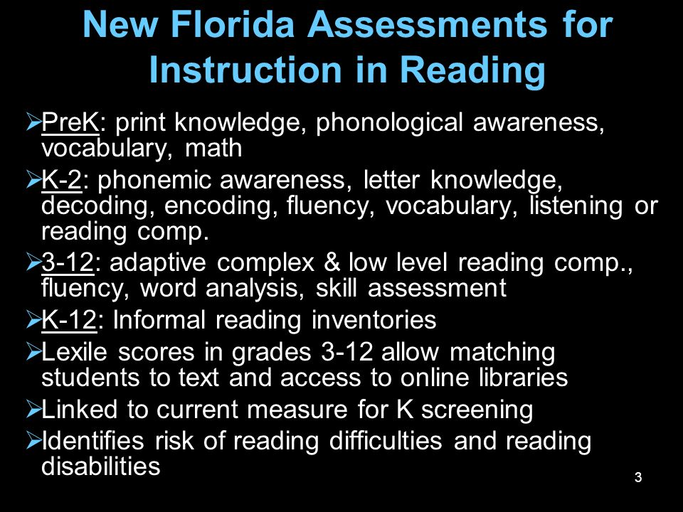 34 Looking Ahead: 2009-2010 The Florida Assessments for Instruction in Reading will be available to all public schools free of charge Scores from these assessments can be used to meet Reading First reporting requirements Professional development will be provided in regional academies during the spring-summer, 2009 and the JRF.