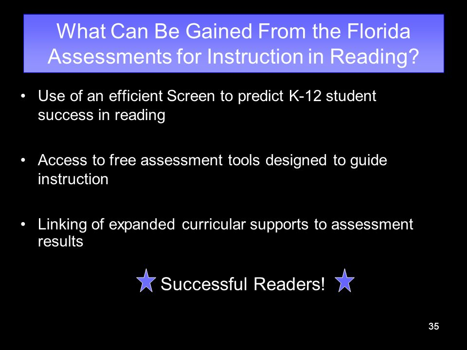 35 What Can Be Gained From the Florida Assessments for Instruction in Reading? Use of an efficient Screen to predict K-12 student success in reading A