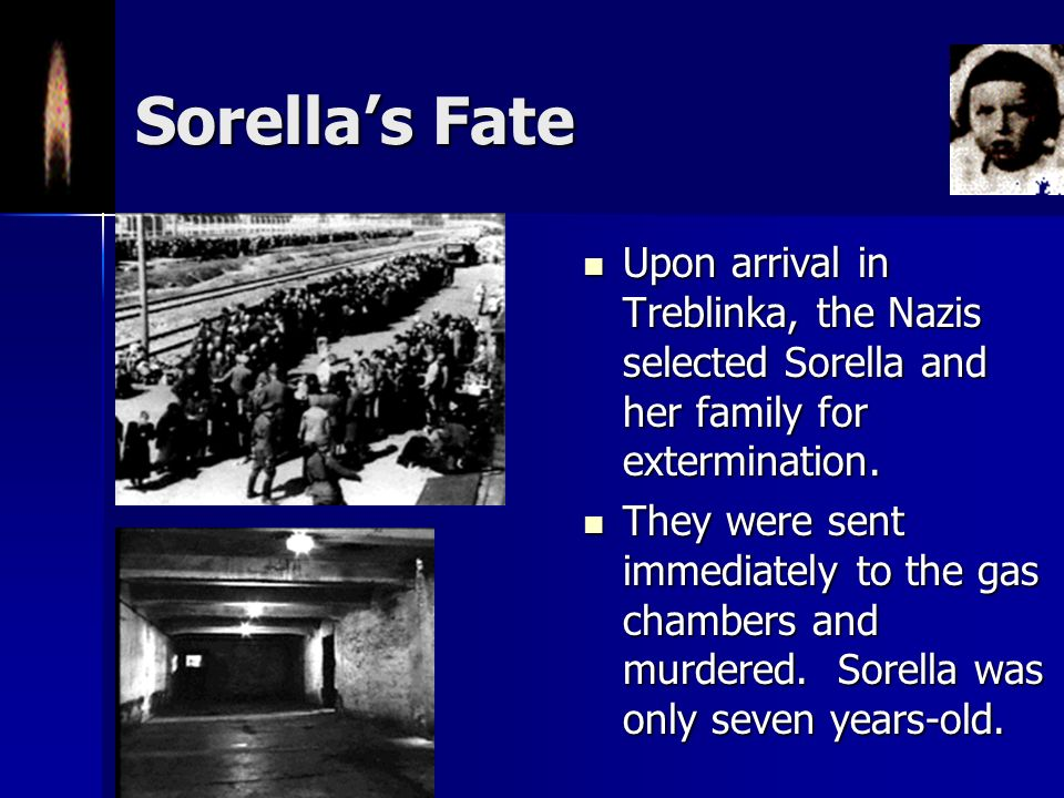 Captured in a Raid In September 1942, Sorella and her family were caught in a Nazi raid on the Warsaw ghetto. In September 1942, Sorella and her famil