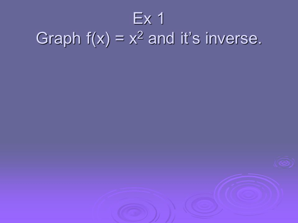Ex 1 Graph f(x) = x 2 and its inverse.