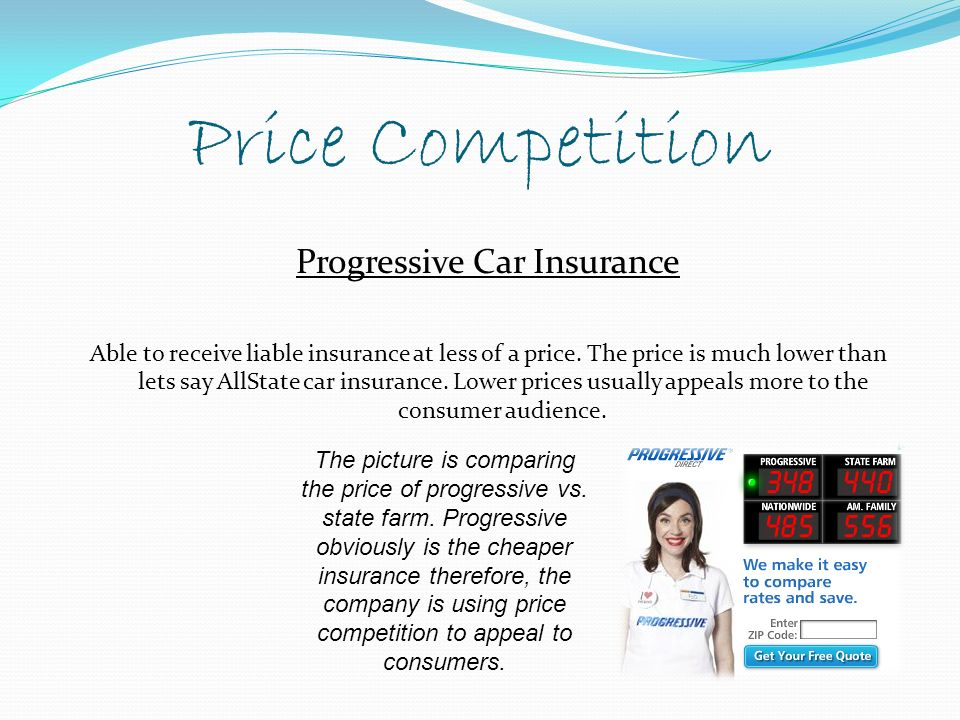 Price Competition Progressive Car Insurance Able to receive liable insurance at less of a price.