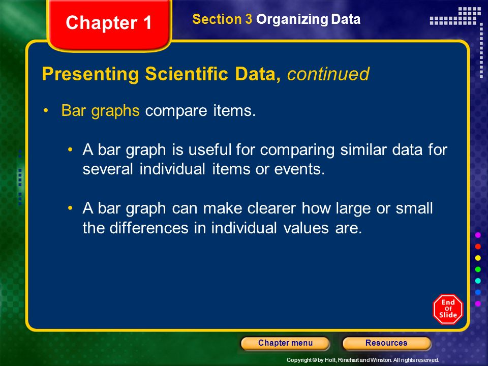Copyright © by Holt, Rinehart and Winston. All rights reserved. ResourcesChapter menu Wednesday September 10 th Overview Read Worlds Biggest Scientifi