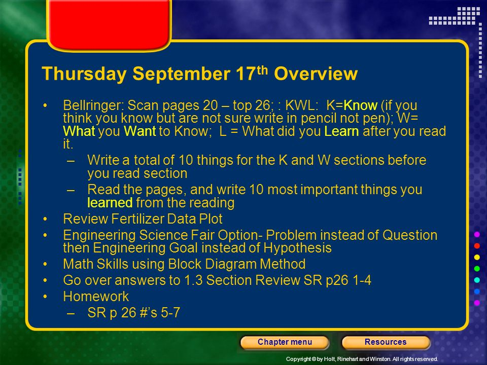 Copyright © by Holt, Rinehart and Winston. All rights reserved. ResourcesChapter menu Wednesday September 16 th Overview Bellringer: Citing Resources