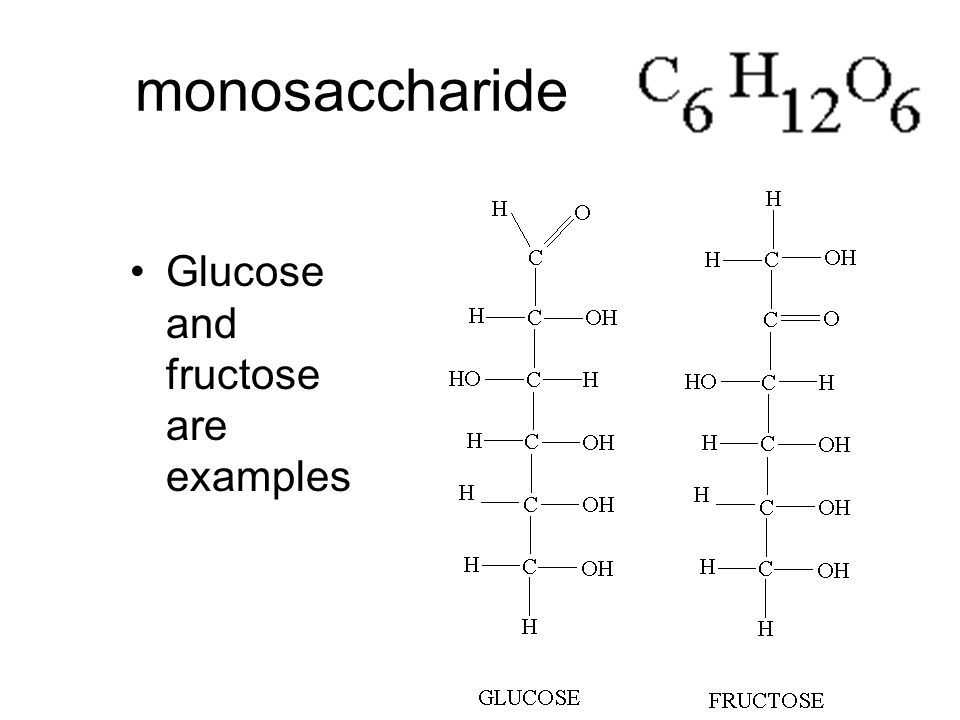 monosaccharide Glucose and fructose are examples