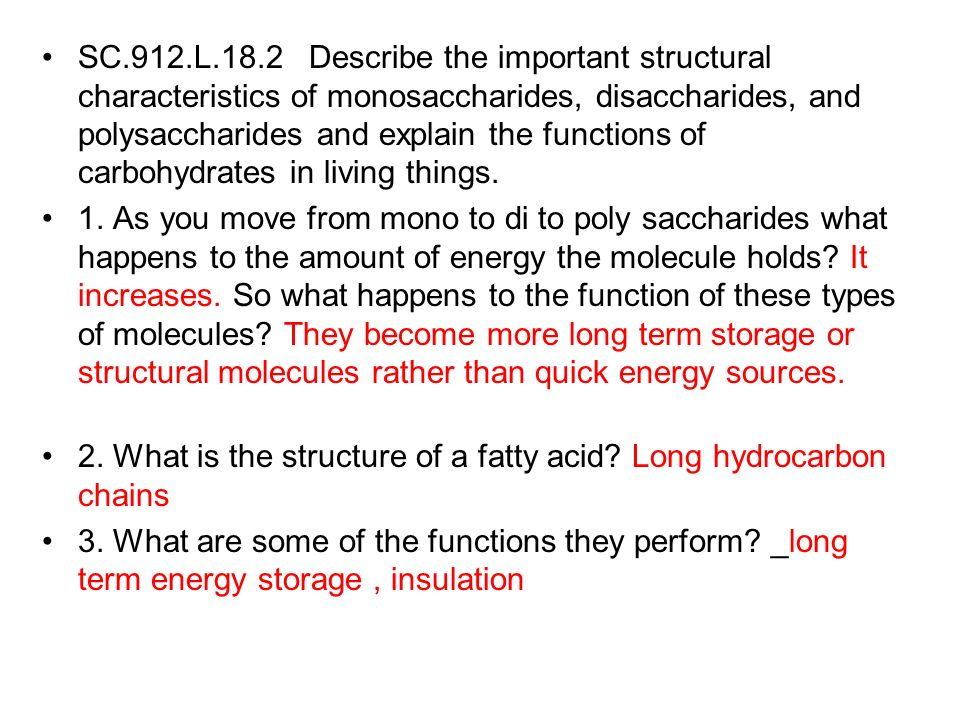 SC.912.L.18.2 Describe the important structural characteristics of monosaccharides, disaccharides, and polysaccharides and explain the functions of ca