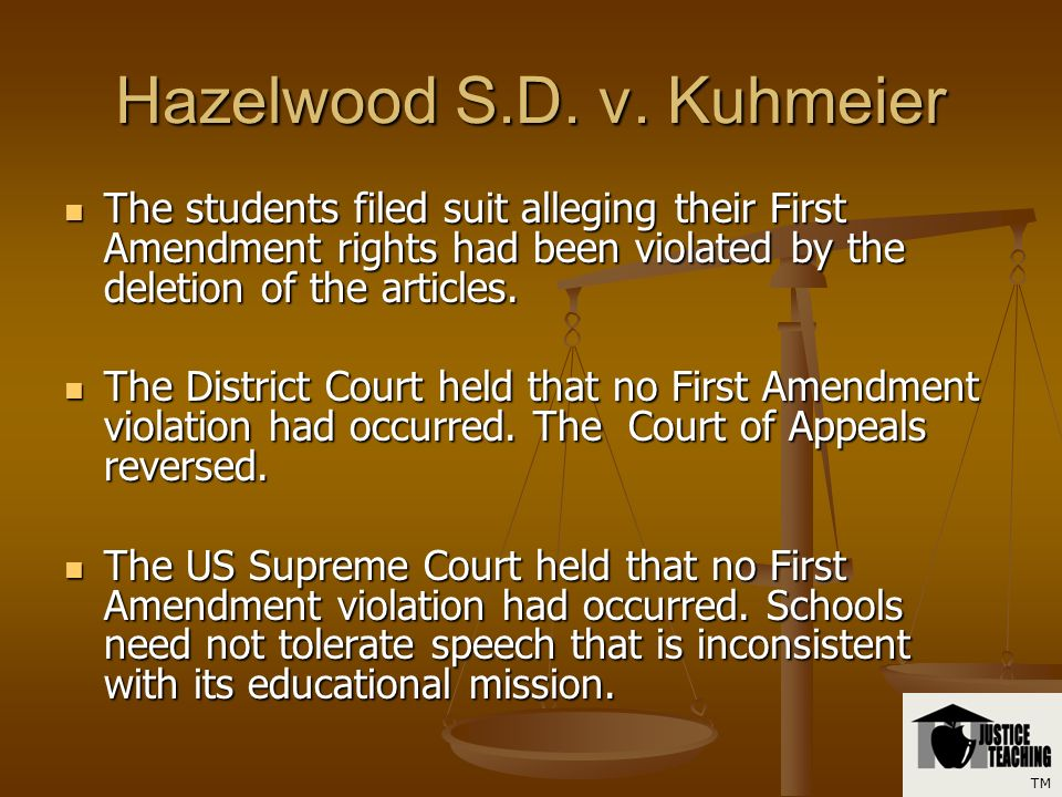 Hazelwood S.D. v. Kuhmeier The principal banned the articles from being published. The principal banned the articles from being published. The princip