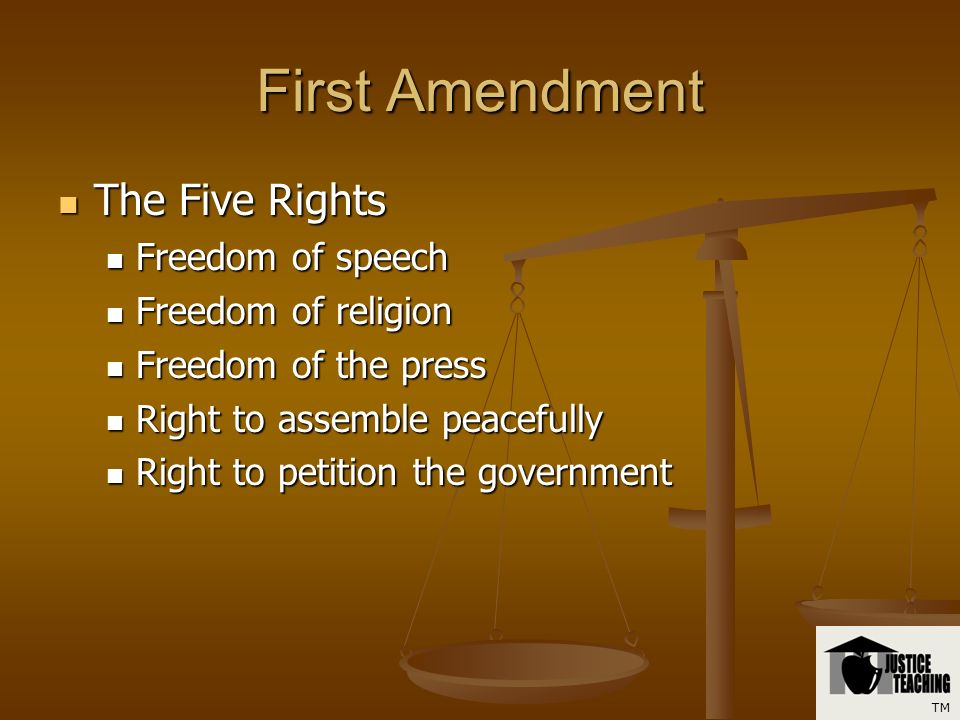 First Amendment Can you identify the five rights in the First Amendment? Can you identify the five rights in the First Amendment? TM