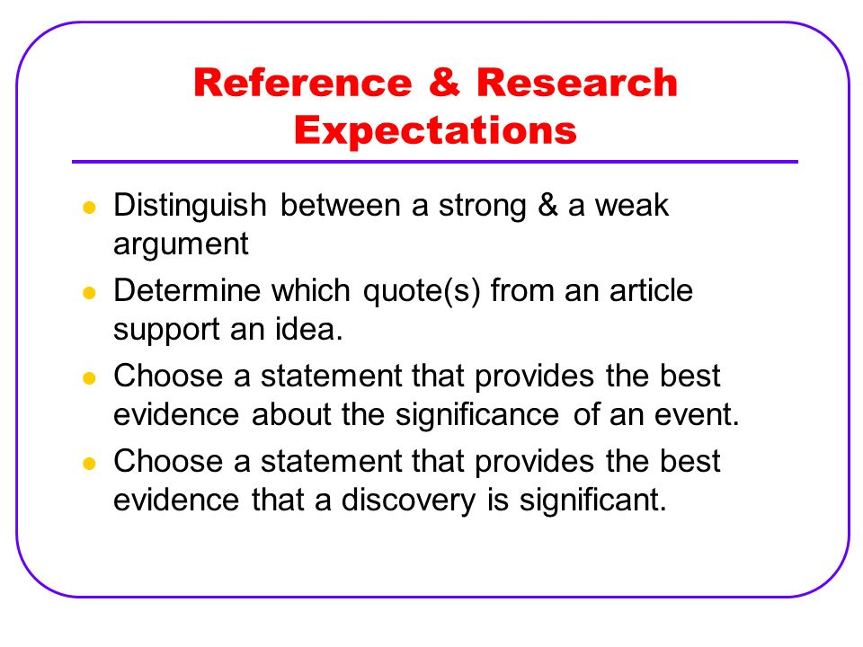 Reference & Research Expectations Distinguish between a strong & a weak argument Determine which quote(s) from an article support an idea. Choose a st
