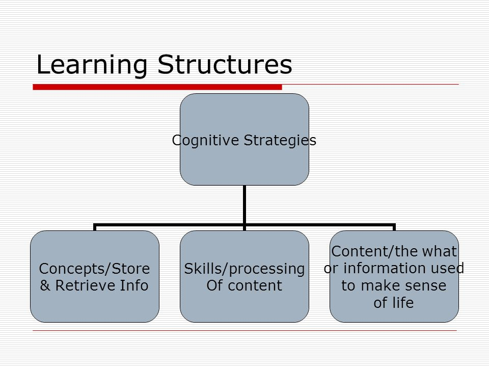 Learning Structures Cognitive Strategies Concepts/Store & Retrieve Info Skills/processing Of content Content/the what or information used to make sens