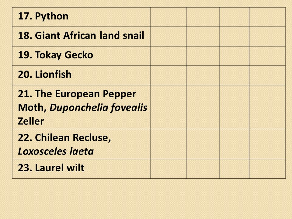 17. Python 18. Giant African land snail 19. Tokay Gecko 20. Lionfish 21. The European Pepper Moth, Duponchelia fovealis Zeller 22. Chilean Recluse, Lo