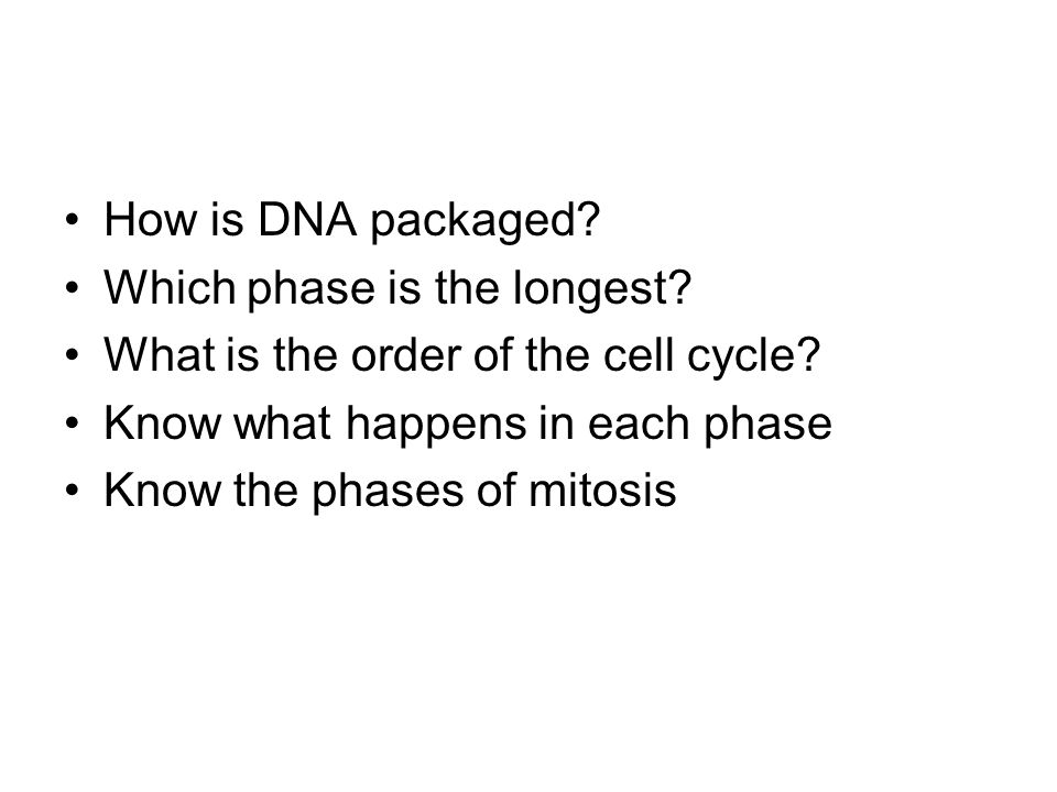 How is DNA packaged? Which phase is the longest? What is the order of the cell cycle? Know what happens in each phase Know the phases of mitosis